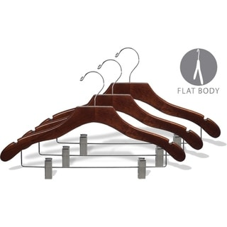 Wavy Walnut Suit Hanger with Clips and Notches (Box of 25)