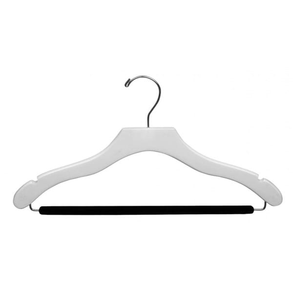 The Great American Hanger Company White Wavy Suit Hanger with Non-slip Bar (Box of 50)