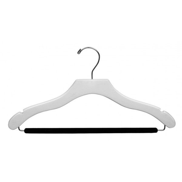 The Great American Hanger Company White Wavy Suit Hanger with Non-slip Bar (Box of 25)