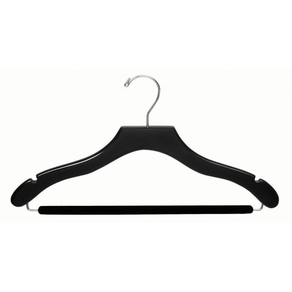 The Great American Hanger Company Black Wavy Suit Hanger with Non-slip Bar (Box of 25)