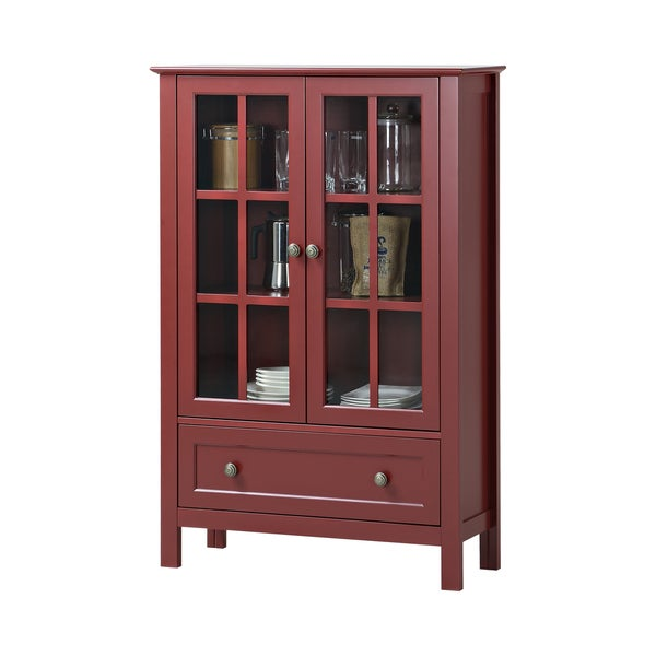 glass 2 door tall cabinet with drawer 17678060