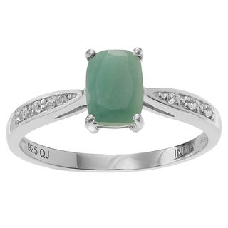 Journee Collection Sterling Silver 3/4 ct Emerald and Topaz Ring