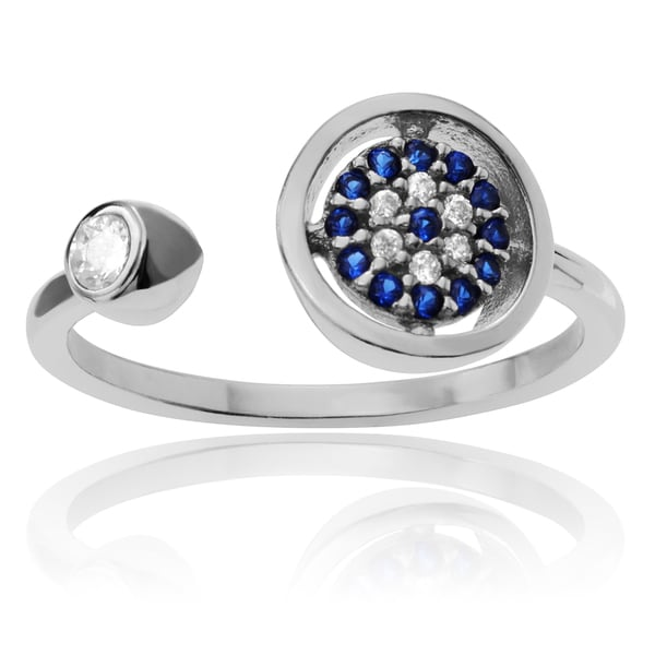 Journee Collection Sterling Silver Cubic Zirconia Evil Eye Open Adjustable Ring 16330114