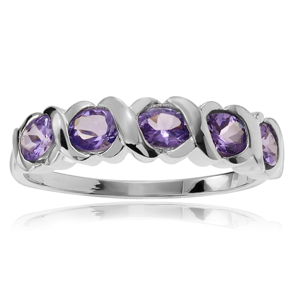 Journee Collection Rhodium-plated Sterling Silver Amethyst 5-stone Ring