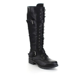 MARK and MADDUX TRAVIS-13 Women's Fashion Lace Up Knee High Combat Boots