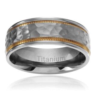 Territory Men's Titanium Yellow IP Milgrain Hammered Center Wedding Band (7.5MM)