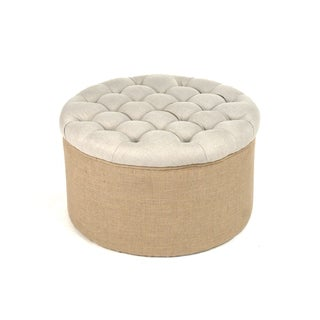Natural Linen and Burlap Tufted Round Ottoman
