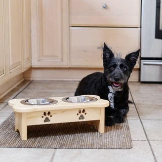 Elevated Dog Food Diner with Paw Print in Natural Wooden Finish