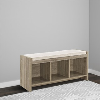 Avenue Greene Sonoma Oak Storage Bench with Beige Cushion