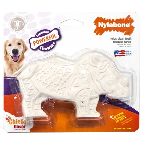 Nylabone Dental Chew Rhino Chicken Flavor