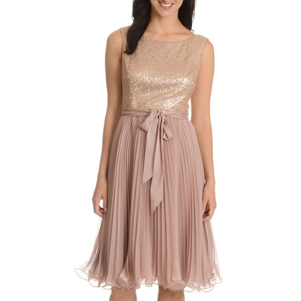 S.L Fashions Women's Sequin Pleated Chiffon Dress with Ribbon Belt