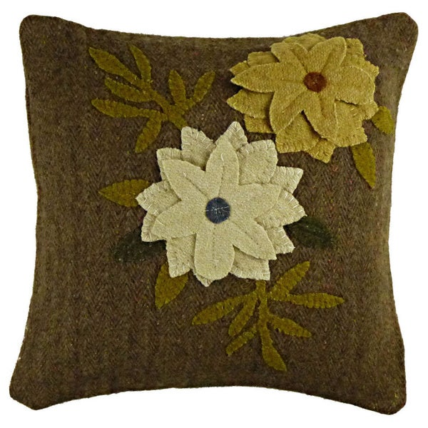"Buttercup Flower Applique Wool Pillow 12"" x 16"""