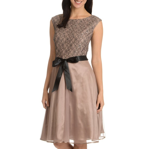 SL Fashions Women's Pattern Bodice Overlay Skirt Evening Dress with Ribbon Belt