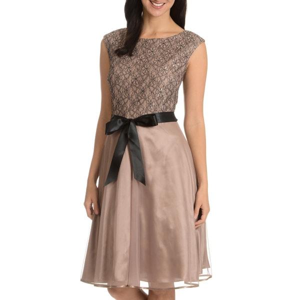 SL Fashions Women's Pattern Bodice Overlay Skirt Evening Dress with Ribbon Belt