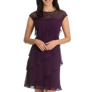 SL Fashions Women's Neckline Embellishment Ruffle Evening Dress
