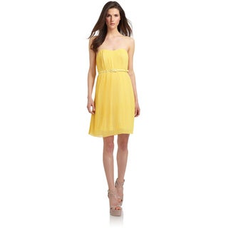French Connection Primrose Yellow Strapless Knee-length Pleated Dress