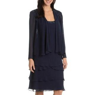 SLNY SL Fashions New York Women's Navy Embellished 2-piece Dress