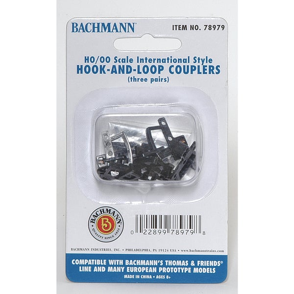 Bachmann Trains Hook And Loop Couplers (3 pair/pack) - Appropriate For Most Thomas and Friends Rolling Stock