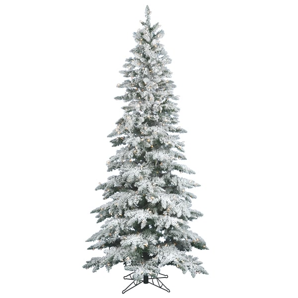 "12' x 65"" Flocked Utica Fir Tree with 1150 Warm White Italian LED Lights"