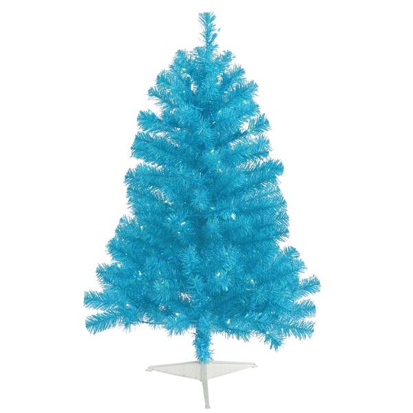"3' x 19"" Sky Blue Tree with 50 Teal Mini Lights"