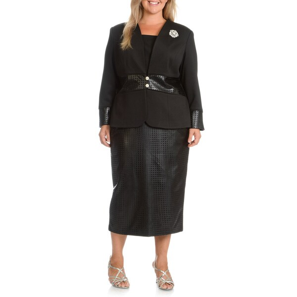Giovanna Signature Women's Plus Size Collarless Burn-Out 2-piece Skirt Suit