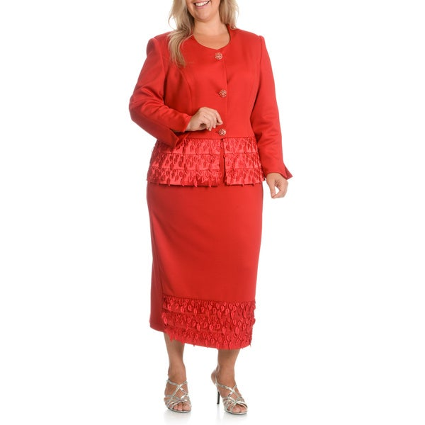 Giovanna Signature Women's Plus Size Tassel Skirt Suit
