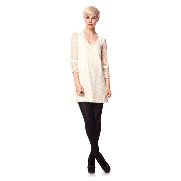 French Connection T-Gigliolia Moments Ivory Lace Knee-Length Tunic Dress