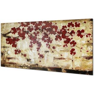 Red Blossom 30-inch x 60-inch Oil Wall Art