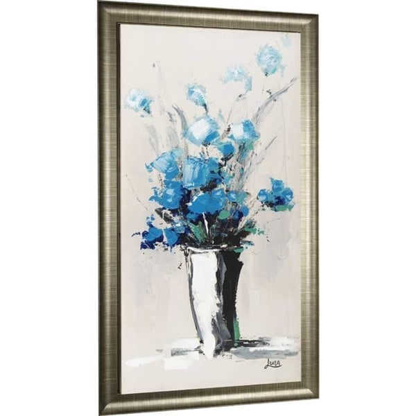 Blue Petal Vase 28.75-inch x 53-inch Framed Oil Wall Art