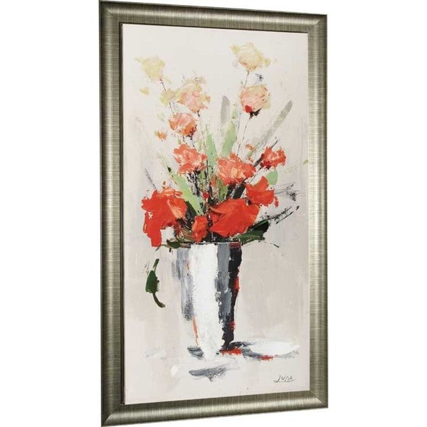 Red Floral 33-inch x 49-inch Framed Oil Wall Art