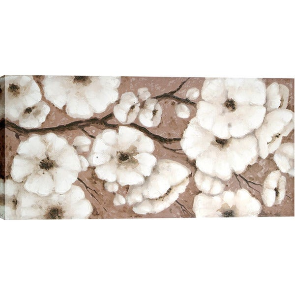White Blossoms 30-inch x 60-inch Oil Wall Art