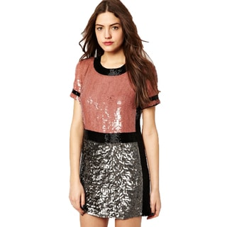 French Connection T-Shelly Black Pink Sequin Beaded Short Sleeve Dress