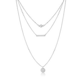 Adoriana White Triple Layer Necklace