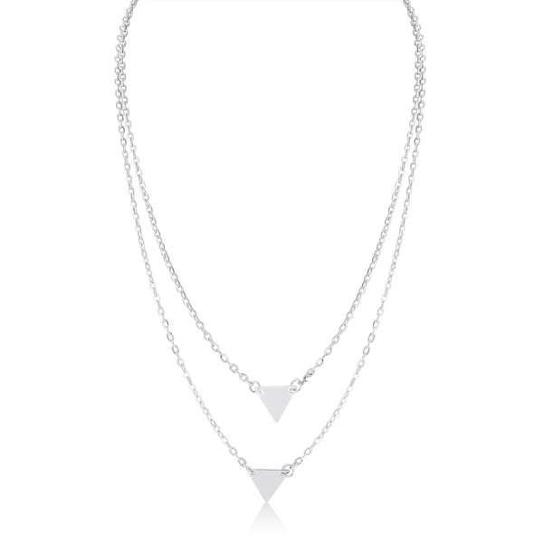 Adoriana White Double Triangle Layer Necklace