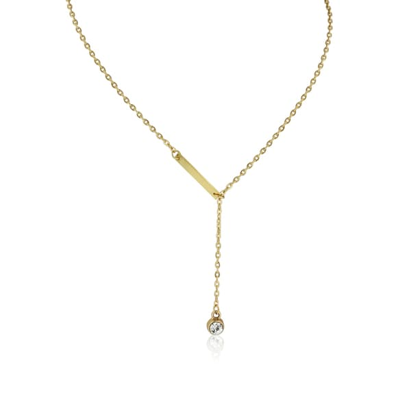 Adoriana Yellow Gold Bar and Crystal Lariat Necklace