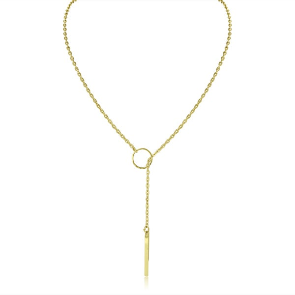 Adoriana Yellow Gold Bar and Circle Lariat Necklace