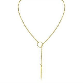 Adoriana Gold Plated Bar and Circle Lariat Necklace