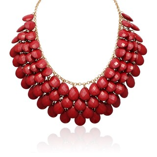 Gold Overlay Red Ruby Crystal Statement Necklace (18 inches)