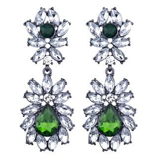 Green and Clear Rhinestone Fancy Earrings