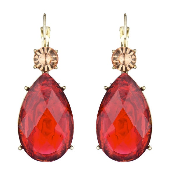 Red Pear Drop Earrings