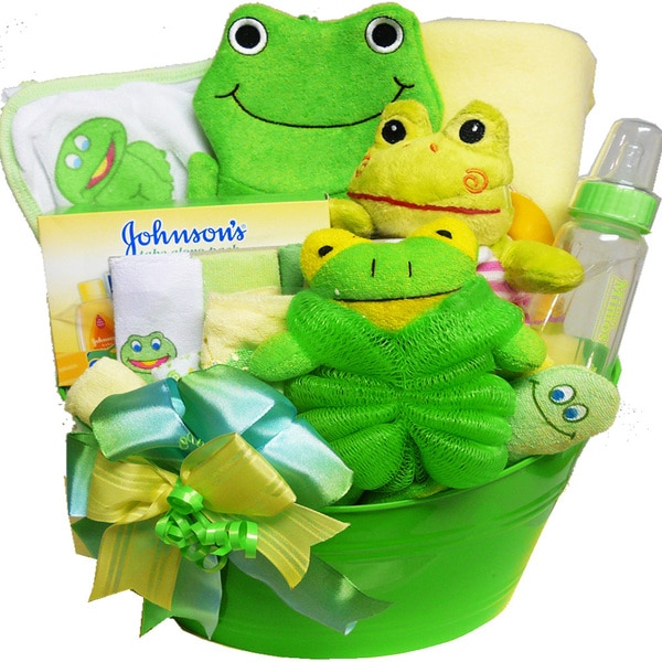 My Little Pollywog Bathtime Fun for Baby Gift Basket, Neutral Boys or Girls