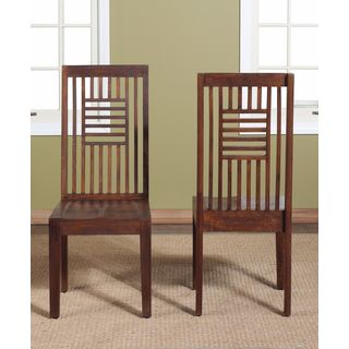 Slat Back Solid Mango Chairs (Set of 2)