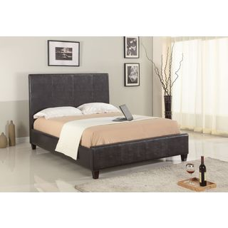 Modern Upholstered Panel Bed in Chocolate