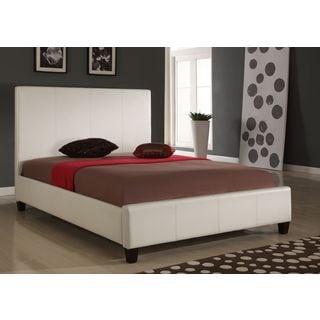 Modern Full-size Upholstered Panel Bed in Ivory