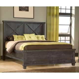 Industrial Solid Wood Panel Bed in Cafe