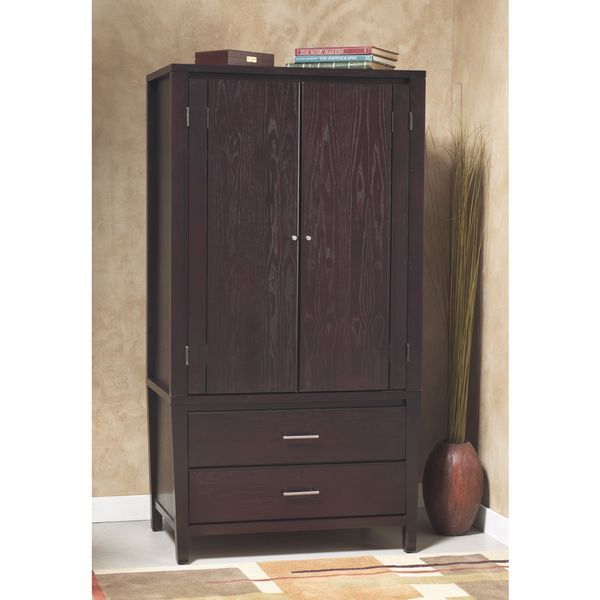 Tapered Leg Bar Pull Armoire in Espresso