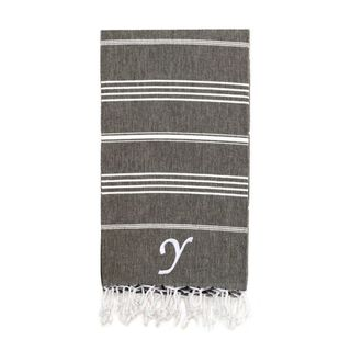 Authentic Pestemal Fouta Original Black Charcoal and White Striped Turkish Cotton Bath/Beach Towel with Monogram Initial