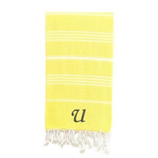 Authentic Pestemal Fouta Original Yellow and White Striped Turkish Cotton Bath/Beach Towel with Monogram Initial