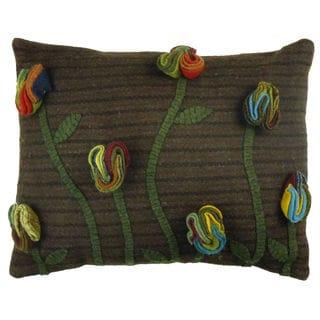Wildflower Applique 16-inch Wool Pillow