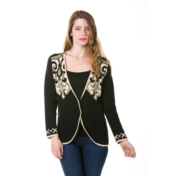 Women's Black Scroll Printed Long Sleeve Cardigan